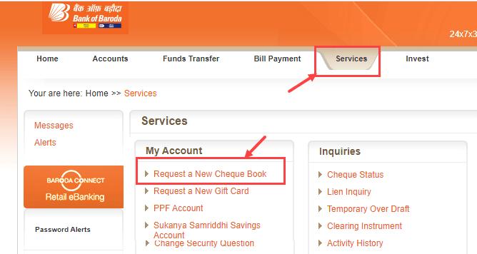 Apply Bank of Baroda Cheque Book Online