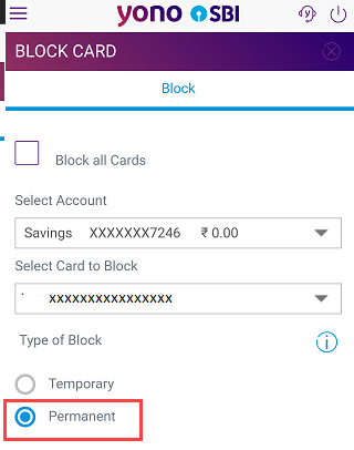 Block SBI ATM Debit card