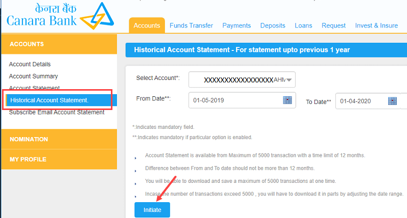 Canara account statement passheet