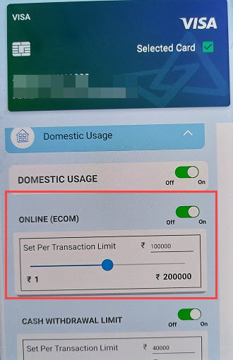 canara bank atm debit card online usage payment transaction