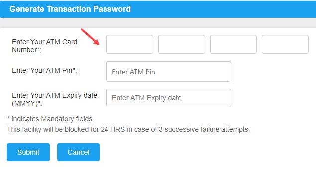 Canara bank transaction password
