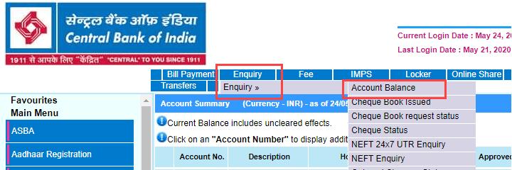 Central Bank of India check account balance
