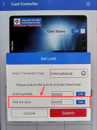 central bank of india debit card online registration