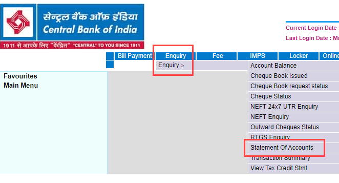 Download Central Bank of India Statement