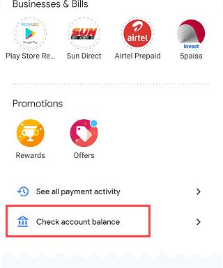 Google Pay check account balance