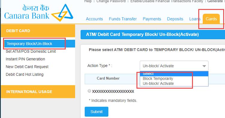ON/OFF (temporary block/unblock)