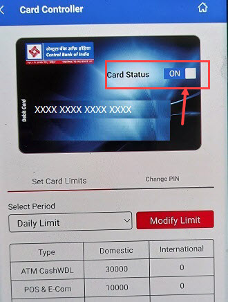 Switch ON/OFF Central bank of India ATM/Debit Card