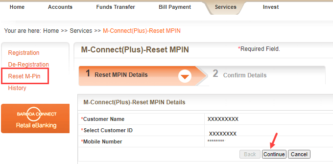 reset MPIN bank of Baroda