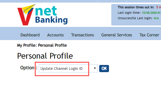 Find/Change Vijaya Net Banking User ID