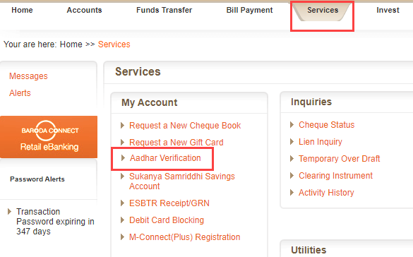 Check Online Aadhaar and Pan linked With Bank of Baroda Account