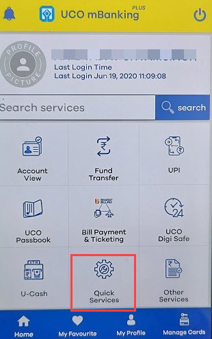 UCO Mobille banking quick services