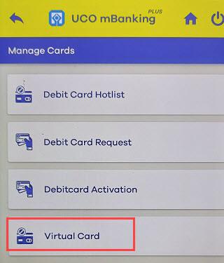UCO bank virtual card