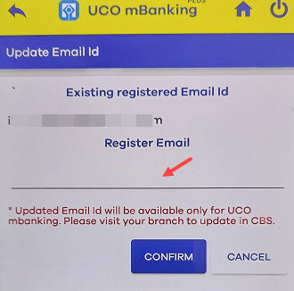 uco email ID update register