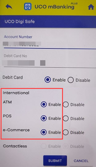 activate UCO Debit card International transactions