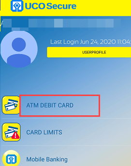 uco secure manage ATM Debit card