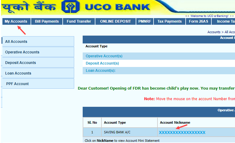Download UCO Bank Account Statement