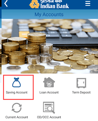 Indian Bank Mobile Banking saving account