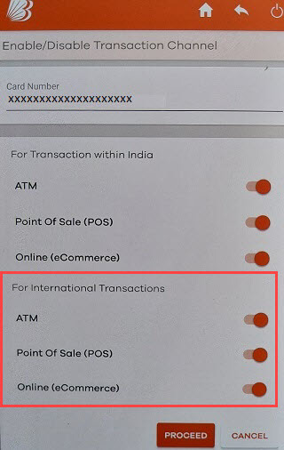 Bank of Baroda debit card international transactions