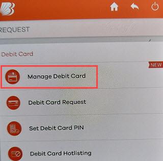 Bank of Baroda manage debit card