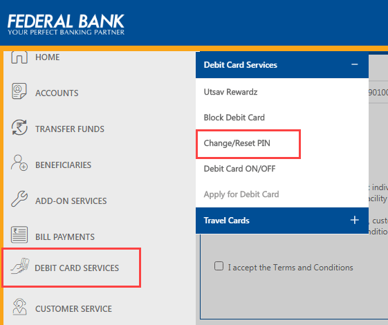Federal Bank ATM PIN Online