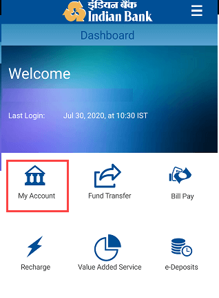 Indian Bank Mobile Banking My Account