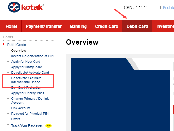 kotak Debit card International usage