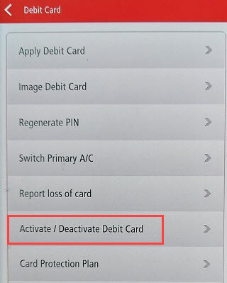 Kotak Mobile Banking Debit card activate/deactivate