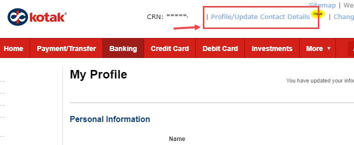 kotak net banking update contact details/profile