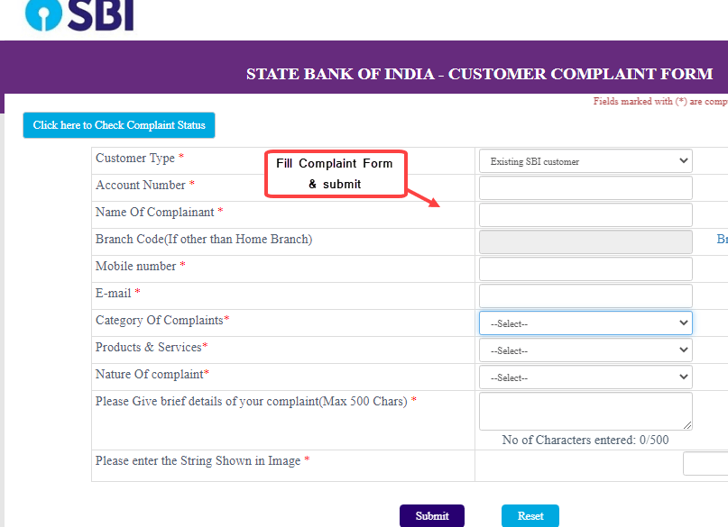 Submit Online Complaint to SBI