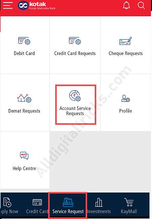 kotak change branch online