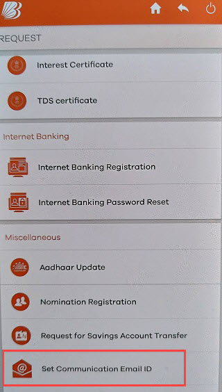 Bank of Baroda register update email ID