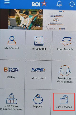 Bank of India BOI card services