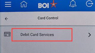 Bank of India BOI Debit card services