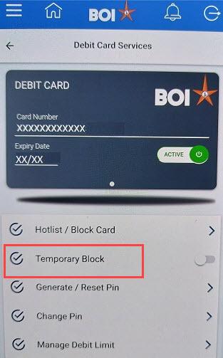 Switch ON/OFF BOI ATM/Debit Card Online