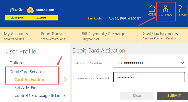 Activate Indian Bank Debit Card Online