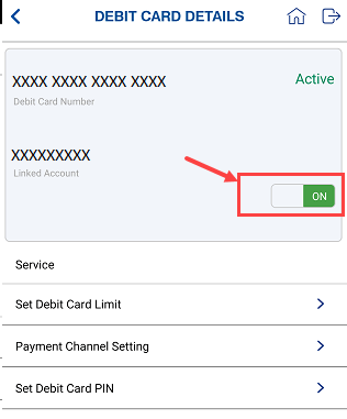 Indian Bank Debit card On/off
