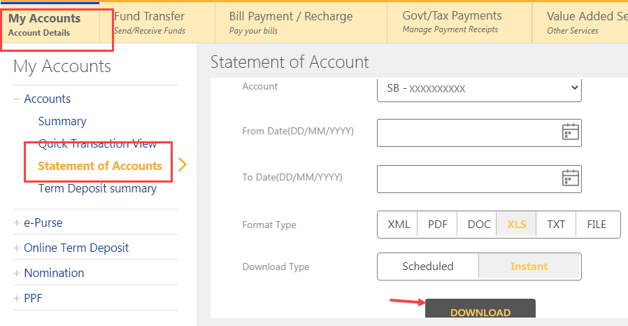 Download Indian Bank statement