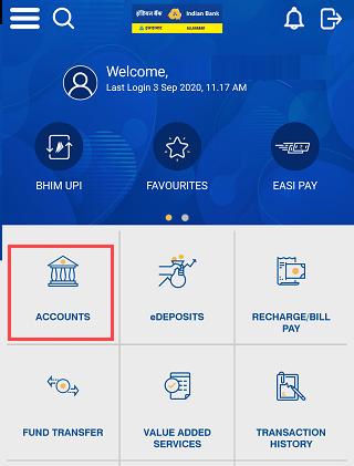 indian bank mobile banking accounts