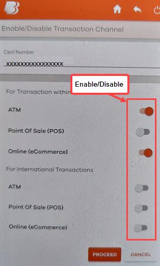 Enable/Disable BOB Debit Card Transactions