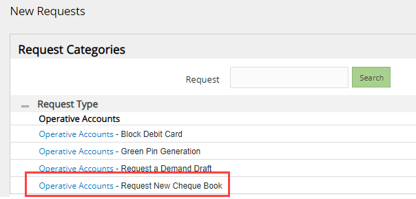 Union Bank of India request cheque book