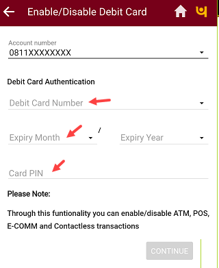 PNB Mobile banking  enter debit card details