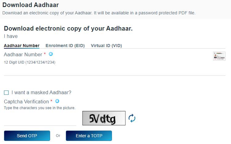 Download e-Aadhaar Card PDF Online
