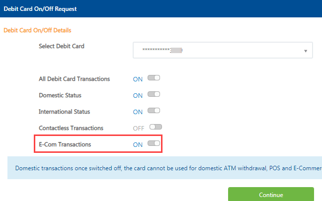 federal bank debit card online transactions