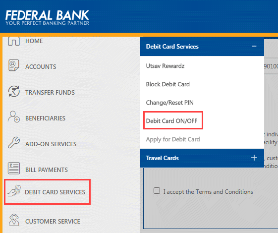 Federal Bank Debit card services