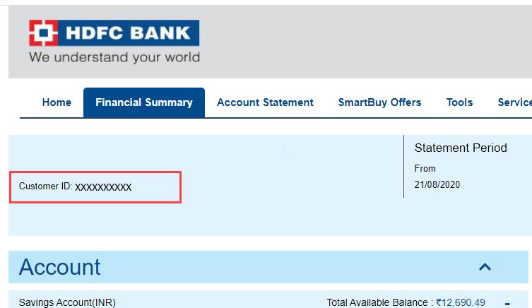 HDFC Bank Account Customer ID