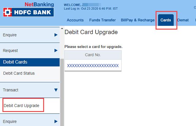 HDFC Bank Debit Card Upgrade