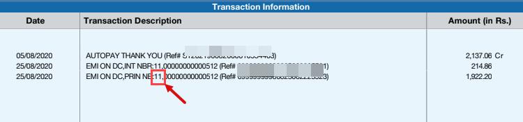 HDFC Debit Card Loan Statement
