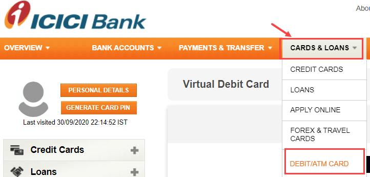 icici net banking manage ATM debit card