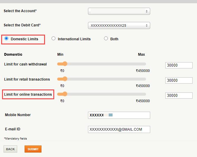 icici debit card online transactions