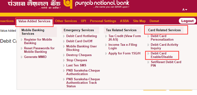 PNB Debit card enable disable